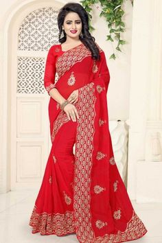 - Red Georgette Saree With Georgette Blouse - Georgette Sarees, Lehenga Choli, Tight Dresses, Formal Dresses, Saree Wedding, Wedding Dresses, Saree Blouse Patterns, Buy Dress, Traditional Dresses