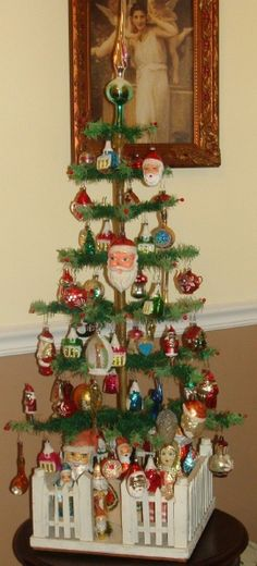 antique christmas tree fence | Vintage feather tree with wooden fence from a private collection in ...