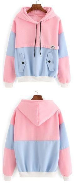 cool Colour-block Drawstring Hooded Pockets Sweatshirt . Check it or more women coat ...