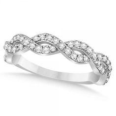 Diamond Twisted Infinity Ring Wedding Band 14k White Gold (0.55ct), Women's, Size: 3