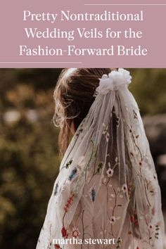 Whether you're a bohemian bride who gravitates toward crocheted lace, embroidery, or fringe or a minimalist who's looking for a subtle twist on a classic wedding accessory, we have you covered—the following nontraditional wedding veils are sure to inspire your own. #weddingideas #wedding #marthstewartwedding #weddingplanning #weddingchecklist Wedding Veils, Boho Wedding, Chapel Length Veil, Nontraditional Wedding, Blue Wedding Dresses, Bohemian Bride, Crocheted Lace, Lace Embroidery, Wedding Styles