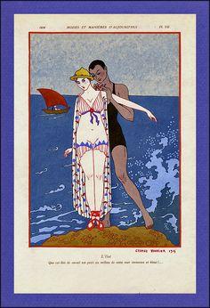 Seaside Romance ~ George Barbier, 1914