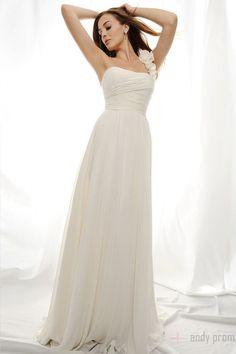 One Shoulder Vintage Pleated Chiffon Wedding Dresses