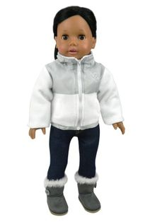 """American Doll Jacket & Button Doll Boots in Suede Style & Fur Trim, 2 Pc. Set Fits 18 Inch Dolls. Stylish White/Gray Nylon/Fleece 18"""" Doll Jacket & Gray Ewe Boots"""