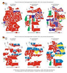Deutschlandkarte: Binationale Ehen. Und wo sind die Ehen mit den Schweizern und Schweizerinnen?
