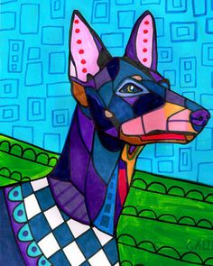 Manchester Terrier art Tile Ceramic Coaster Mexican Folk Art Print of painting by Heather Galler dog Dog Gift Schnauzer Art, Dachshund Art, Toy Manchester Terrier, Mosaic Animals, Dog Poster, Poster Prints, Art Prints, Mexican Folk Art, Animal Paintings