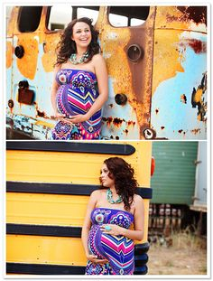 Great outfit for a maternity photo session. color + pattern <3
