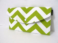 Lime Chevron - Full Size Clutch