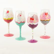Cupcake wine glasses i would add a pair of socks and pom pom instead of painting