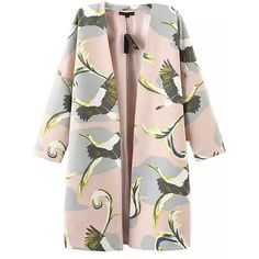 Chicnova Fashion Long Sleeved Coat in Floral Print (15.525 CRC) ❤ liked on Polyvore featuring outerwear, coats, jackets, pink coat, collarless coat, long sleeve coat, floral print coat and floral coat