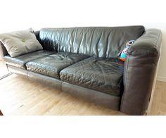 Sofa, læder, 3 pers. , N. Eilersen, Sort læder sofa med