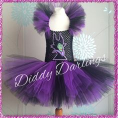 Maleficent Tutu Dress. Villian Tutu Dress. Beautiful & lovingly handmade.  Price varies on size, starting from £25.  Please message us for more info.  Find us on Facebook www.facebook.com/DiddyDarlings1 or our website www.diddydarlings.co.uk