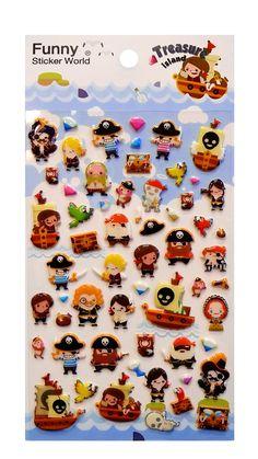 Kawaii Pirate Treasure Puffy Stickers