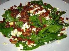 wilted spinach salad w/ bacon & balsamic vinaegrette