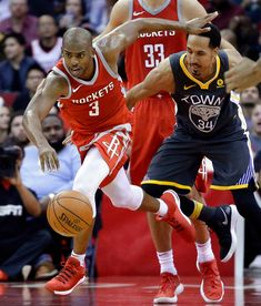 Houston Rockets guard Chris Paul (3) steals the ball from Golden State Warriors guard Shaun Livingston (34) during the second half of an NBA basketball game Saturday, Jan. 20, 2018, in Houston. (AP Photo/Michael Wyke)