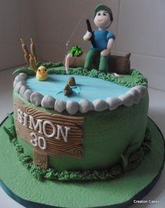 Fishing themed birthday cake! :-)  www.creationcakes.org.uk