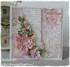 """Cześć! Dziś chciałam pokazać Wam kolejną   ślubną karteczkę z akwarelowym tłem...tym razem z nutka różu i fioletu   Użyłam wykrojnika """"Mło..."""