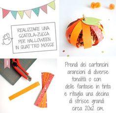 La zucca di cartoncino porta dolcetti di Halloween