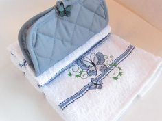 Embroidered Blue and White Stripe Butterfly Hanging Cotton Kitchen Towel with  potholder combos for stove or refrigerator