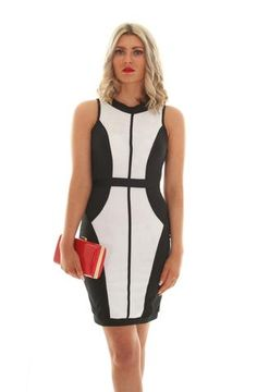 Black & white block dress