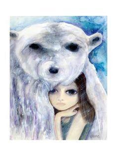 Giclee Print: Big Eyed Girl Solitude by Wyanne : 24x18in