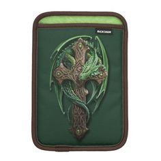 Celtic Tribal Cross Dragon Tattoo Art. Unique, fashionable, trendy and whimsical Apple iPad Mini sleeve. With beautiful image of a wooden Irish Celtic tribal cross and poison green dragon tattoo art design. Made for tattoo, exotic, dragons, fantasy creature, or science fiction lover. Fun and cute birthday gift or Christmas present. Original gift for the sophisticated professional business man or woman who deserves a cool, classy and stylish electronic device cover.