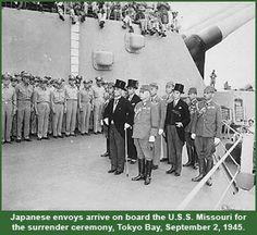 Japanese envoys arrive on board the U.S.S. Missouri for the surrender ceremony, Tokyo Bay, September 2, 1945.