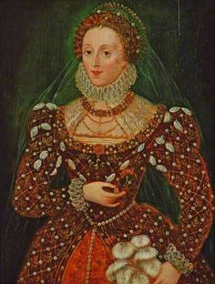 In this portrait, Elizabeth I is shown in a dark red gown decorated with pearls and holding a feather fan. By Federico Zuccaro.