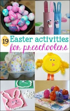 These fun Easter Activities for Preschoolers will be a hit with your child. Art, crafts, games and egg decorating ideas for preschool aged kids. #artsandcraftsforgirlsage5,