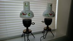 Great Cottage or Shabby Chic decor. Pair Vintage Rose Hurricane Lamps by ABetterNest on Etsy, $45.00 Shabby Chic Decor, Vintage Home Decor, Hurricane Lamps, Vintage Roses, See Photo, Paint Colors, Vintage Items, Cottage, Etsy Shop