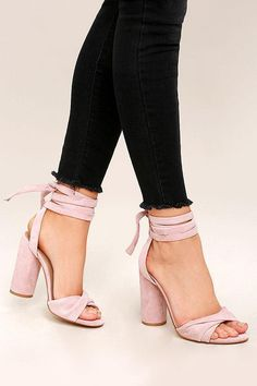 afcfe1ce61ed Genuine suede leather is soft and luxurious over these peep-toe heels with  a twisted toe ...