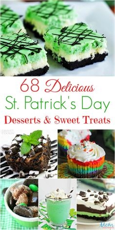 Patrick& Day Desserts and Sweet Treats banner 68 Delicious St. Patrick's Day Desserts and Sweet Treats Delicious St. Patrick's Day Desserts and Sweet Treats banner Irish Desserts, Mini Desserts, Irish Recipes, Holiday Desserts, Holiday Treats, Easy Desserts, Holiday Recipes, Irish Appetizers, Green Desserts