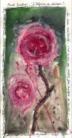 Appréciation : L'œuvre représente deux roses  qui prend toute la place sur l'œuvre. La technique utilisée est probablement la peinture. Quand je regarde l'œuvre je me sens zens à cause des mouvement de la peinture.  J'aime cette œuvre car elle est apaisante et je trouve que la technique utilisée est intéressante.