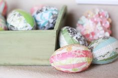 Landee See, Landee Do: Paper Crafted Spring Mantel decoupage plastic eggs