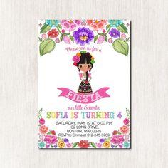 Fiesta 4th Birthday Invitation Mexican Girl Party Invita