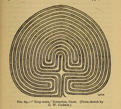 "J. F. Godwin Drawing of a turf maze ""Troy Town"" in the garden of a farm-house at Somerton, near Banbury, Oxfordshire. Many turf mazes in England were named Troy Town presumably because, in popular legend, the walls of the city of Troy were constructed in such a confusing and complex way that any enemy who entered them would be unable to find his way out."