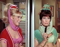 """Jeannie and her Evil Twin. Hoping to convince a certain brunette friend whose name begins with M to do the evil twin costume with my Jeannie :D - You know... it's not always the brunette who is the bad one... plenty of """"evil"""" blondes out there too!"""