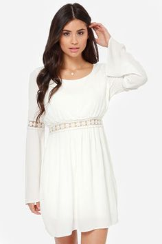 Hippie Go Lucky Ivory Lace Dress at LuLus.com!