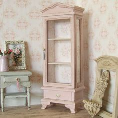 Dollhouse Miniature, Pink Display Cabinet, Dolls House Hutch, Tall Furniture, Wood Dresser, Floral Paper, Shabby Cottage Chic, 1:12th Scale