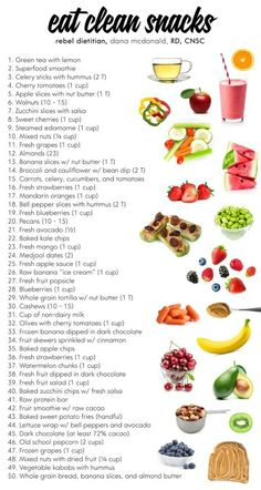 Snacks The best list of clean eating, healthy snack choices! This makes choosing healthy food options a snap!The best list of clean eating, healthy snack choices! This makes choosing healthy food options a snap!