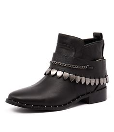 Bring your rock-star style to the main stage with this leather ankle boot. Take inspiration from its rock n' roll vibe and team with skinny black jeans and a vintage band tee. Shop 'Frido Black Leather/ Silver Cuff' by Mollini at styletread.com.au