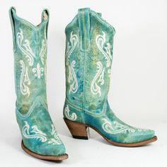 Mens Custom Handmade Turquoise Blue Calfskin Cowboy Boots 8 / 8.5 ...