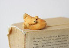 Orange Fox Bookmark animal charm  miniature by HouseOnTheCloud
