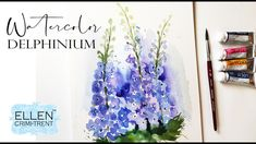 Loose Watercolor Delphinium for Beginners/ Step by Step Tutorial Watercolor Flowers, Watercolor Art, Painting Flowers, Watercolour Tutorials, Painting Tutorials, Your Paintings, Floral Paintings, Delphinium, Step By Step Drawing