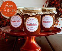 Pumpkin Butter Recipe + Free Labels