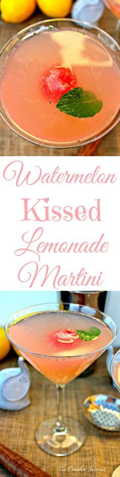 Watermelon Kissed Lemonade Martini ~ Mint and watermelon muddled together then shaken with lemonade and vodka creating the perfect cocktail, and easily made into a mocktail. ~ The Complete Savorist Party Food And Drinks, Fun Drinks, Yummy Drinks, Beverages, Non Alcoholic Drinks, Cocktail Drinks, Cocktails, Martini Recipes, Cocktail Recipes