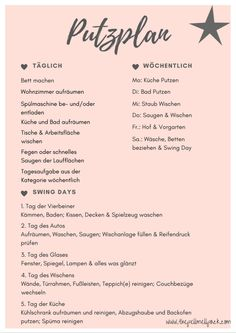 Putzplan – ein wenig Ordnung im Chaos Cleaning plan & a little bit of order in the chaos & # little & The post Cleaning plan & a little order in the mess appeared first on Leanna Toothaker. Cleaning Plan, Cleaning Hacks, Genius Ideas, Flylady, Home Organisation, Better Life, Getting Organized, Declutter, Housekeeping