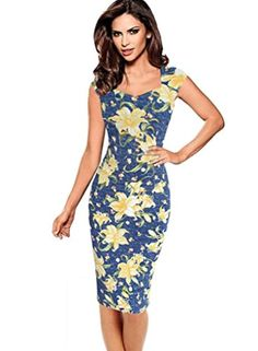 VfEmage Womens Sexy Elegant Summer Casual Party Cocktail Sheath Bodycon Dress 2613 Blue 14 - Brought to you by Avarsha.com