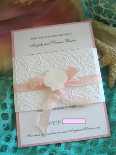 Seashell and Lace Beach Wedding Invitation by CharonelDesigns, $45.00