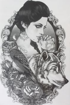 Sexy girl catch  dog and owl Size 22 x 12cm Brand New Body Art tatoo Temporary Tattoo Exotic Sexy Henna Tattoo Tattoo Stickers http://ali.pub/85f69